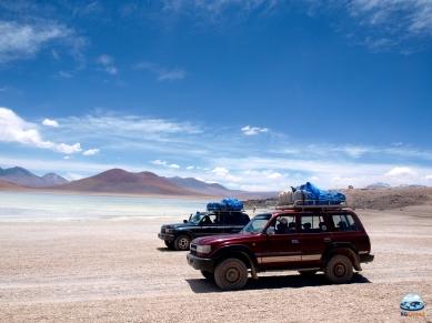 Os carros responsáveis por nos levar do Deserto de Atacama ao Salar de Uyuni.