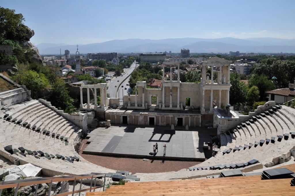 Teatro romano em Plovdiv, na Bulgária; país não exige visto de brasileiros.