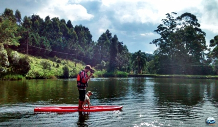 Eu e o Poá nos aventurando no Satnup Paddle!
